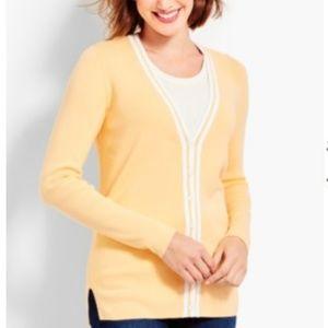 Talbots yellow & white Tipped Spectator Cardigan